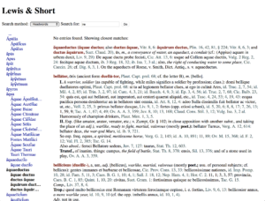Lewis and Short dictionary search screen